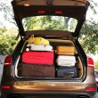 Suitcases and bags in trunk of car — Stock Photo #56881221
