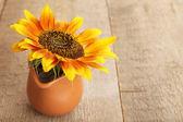 Beautiful sunflower in pitcher — Stock Photo