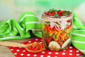 Vegetable salad in glass jar — Stock Photo