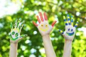 Smiling colorful hands — Fotografia Stock