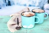 Cups of tasty hot cocoa — Stockfoto