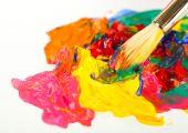 Paint brush with colorful paints — Foto de Stock
