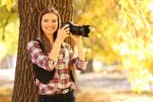 Young photography take photos in park — Foto Stock