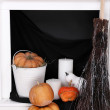 Halloween composition on fireplace — Stock Photo #56978729