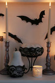Halloween composition on fireplace — Photo
