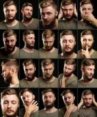 Handsome man with beard collage — Stock Photo