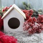 Handmade birdhouse with berries — Stock Photo #57036087