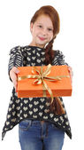 Beautiful little girl with present box isolated on white — Stock Photo