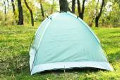 Touristic tent on green grass — Stock Photo
