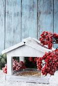 Handmade birdhouse with berries — Stock Photo