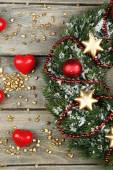 Christmas wreath with decorations — Stock Photo