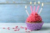 Delicious birthday cupcake — Stock Photo