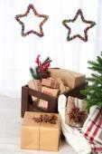 Decorações e presentes de natal — Fotografia Stock