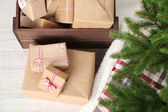 Christmas presents and decorations — Stock Photo