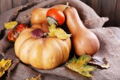 Pumpkins on sackcloth — Stock Photo