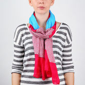 Woman wearing scarf close up — Stockfoto