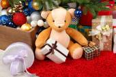 Christmas gifts in festive interior — Stockfoto