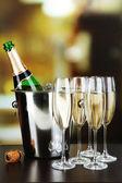 Champagne in glasses and bottle — Foto de Stock