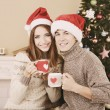 Nice love couple sitting with mugs in front of fireplace near Christmas tree. Woman and man celebrating Christmas — Stock Photo #57582103