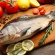 Fresh raw fish and food ingredients — Stock Photo #57587163