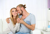 Young happy couple after therapy session with family psychologist — Stockfoto