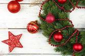 Zelený vánoční věnec — Stock fotografie