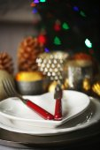 Serving Christmas table — Stock fotografie
