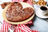 Homemade chocolate pie on table — Stock Photo
