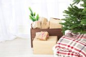 Christmas presents near Christmas tree — Stock Photo