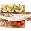 Fresh raw fish on cutting board and food ingredients isolated on white — Stock Photo #57619897