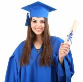 Woman graduate student wearing graduation hat and gown, isolated on white — Stock Photo