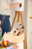 Artist painter on canvas — Stock Photo