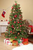 Christmas tree with gifts — Stock Photo