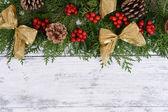 Christmas border from fir and mistletoe — Stock Photo