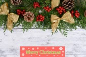 Christmas border from fir and mistletoe — Stock Photo