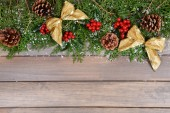 Christmas border from fir and mistletoe — Fotografia Stock