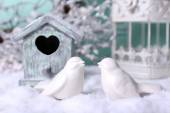 Christmas composition with small bird house — Stock Photo