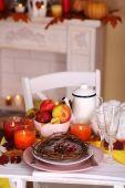 Festive autumn serving table — Foto de Stock