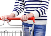 Woman with trolley — Stockfoto