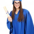 Woman graduate student wearing graduation hat and gown, isolated on white — Stock Photo #57868983