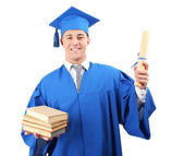 Man graduate student wearing graduation hat and gown, isolated on white — 图库照片