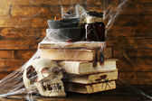 Frightful still life for Halloween, on wooden background — Stock Photo