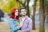 Loving couple in park — Stock Photo