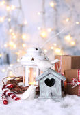 Christmas composition with bird house — Stock Photo
