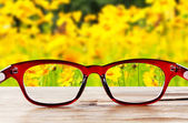 Eye glasses on wooden table — Stock Photo