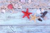 Decor of seashells and seastar — Stock Photo