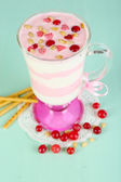 Cranberry milk dessert in glass — Stock Photo