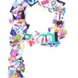 Letter P made of colorful newspaper letters — Stock Photo #59733093