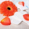Sanitary pads, orange flower and rose petals — Stock Photo #59734329