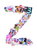 Letter Z made of colorful newspaper letters — Stock Photo